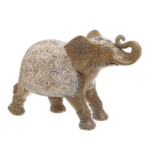 Διακοσμητικός Ελέφαντας Καφέ/ Χρυσός Με Λευκά Ανάγλυφα Σχέδια 31x10x21, Inart