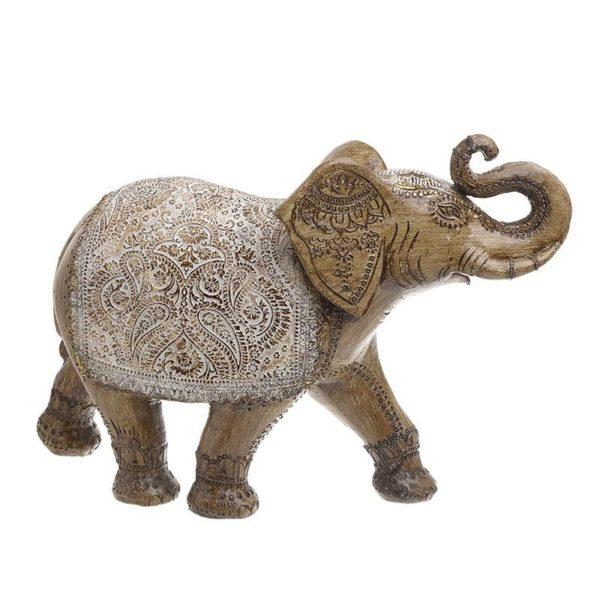 Διακοσμητικός Ελέφαντας Καφέ/ Χρυσός Με Λευκά Ανάγλυφα Σχέδια 37x13x27, Inart
