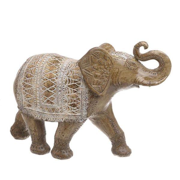 Διακοσμητικός Ελέφαντας Καφέ/ Χρυσός Με Λευκά Ανάγλυφα Σχέδια 38x13x24, Inart