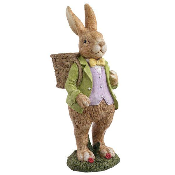 Διακοσμητικός Λαγός Πολύχρωμος Με Καλαθάκι 'Mr Rabbit' 20x15x42, Inart