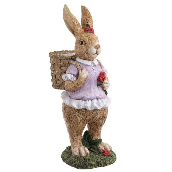 Διακοσμητικός Λαγός Πολύχρωμος Με Καλαθάκι 'Mrs Rabbit' 19x13x39, Inart