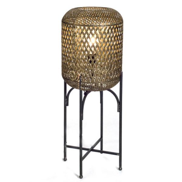 Επιδαπέδιo Φωτιστικό Με Πλεκτό Μεταλλικό Καπέλο Αντικέ Χρυσό Υ80 | ZAROS