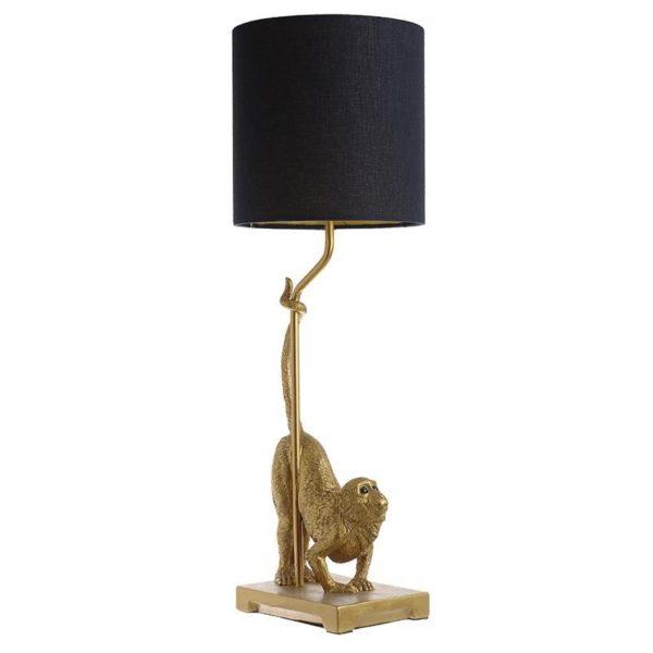 Επιτραπέζια Λάμπα Χρυσή Με Μαύρο Καπέλο 'Monkey' Δ20 Y62, Inart