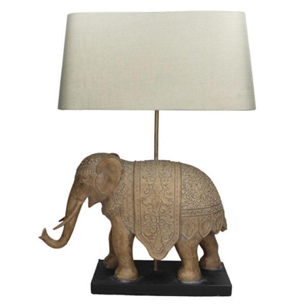 Επιτραπέζια Λάμπα Με Λευκό Καπέλο 'Ελέφαντας' Υ55 | ZAROS