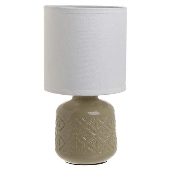 Επιτραπέζιο Φωτιστικό Κεραμικό Μπεζ Με Λευκό Καπέλο 'Boho' Υ24, Inart