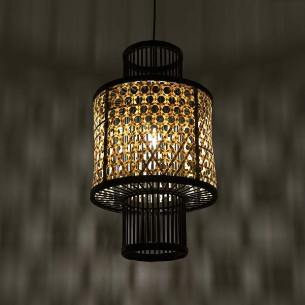 Φωτιστικό Οροφής Μπαμπού Μαύρο/ Natural 'Jungle' Δ29.5 Y53, Inart