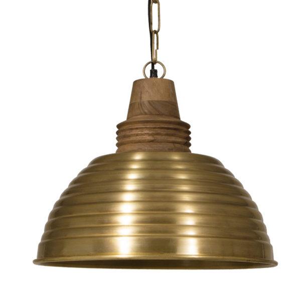 Φωτιστικό Οροφής Μεταλλική Καμπάνα Μπρονζέ Α Με Ξύλινο Ντουι Δ44 Υ38 | ZAROS
