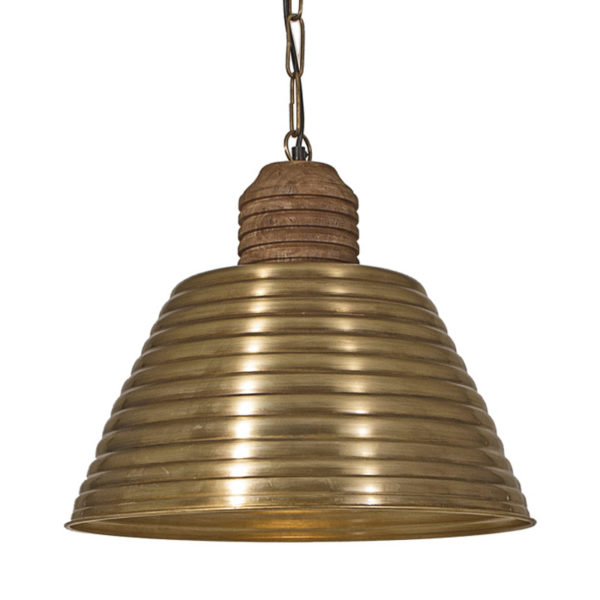 Φωτιστικό Οροφής Mεταλλική Καμπάνα Μπρονζέ Β Με Ξύλινο Ντουί Δ44 Υ38 | ZAROS