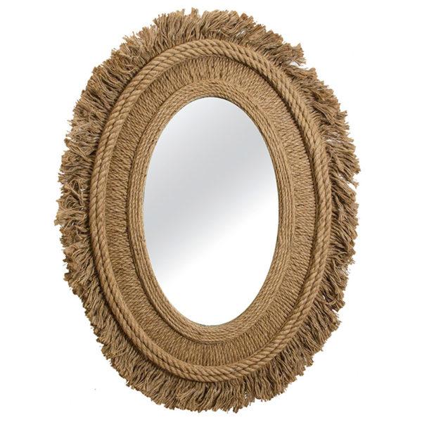 Καθρέπτης Boho Οβάλ Με Κορνίζα Από Φυσικό Σχοινί Natural Με Κρόσσια 76x5x100   ZAROS