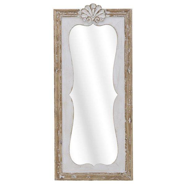 Καθρέπτης Τοίχου Natural Beige/ Λευκός Παλαιωμένος Country Α50x110, Inart