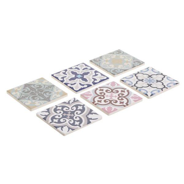 Σουβέρ Κεραμικά Σε Διάφορα Σχέδια 'Tiles' 10x10, Σετ Των 6, Inart