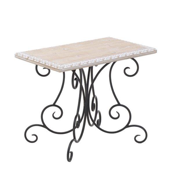 Τραπέζι Ξύλινο Natural ΜεΜεταλλικά Σκαλίστα Πόδια 58x38 Υ46, Inart