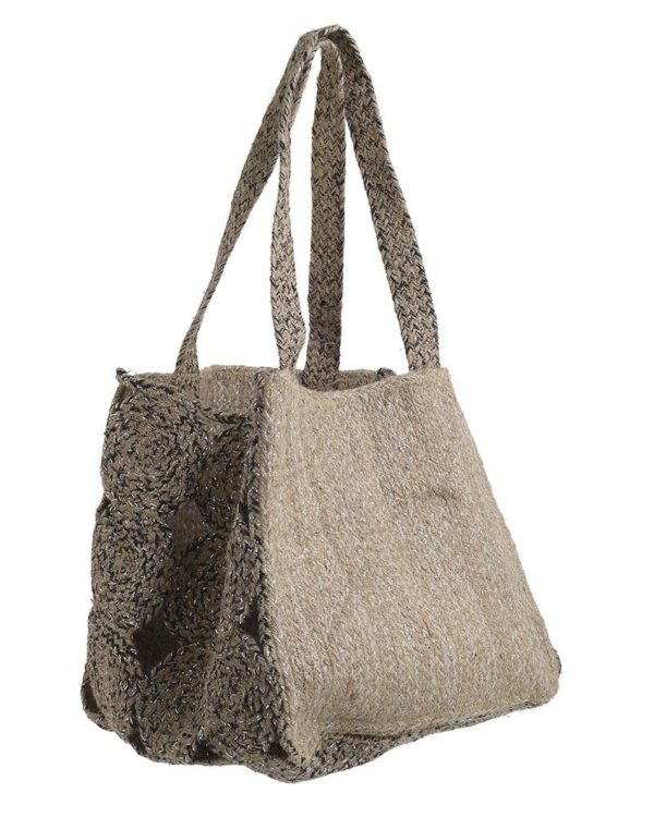 Τσάντα Ώμου Ψάθινη Μπεζ Με Ασημί Lurex 32x31x30, Inart