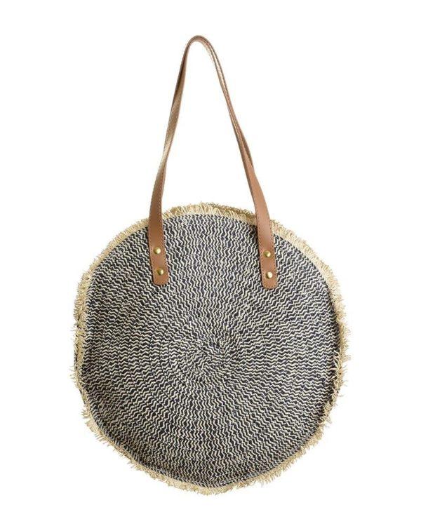 Τσάντα Ψάθινη Στρογγυλή Γκρι/Natural Με Δερμάτινο Λουράκι 35x8x55, Inart
