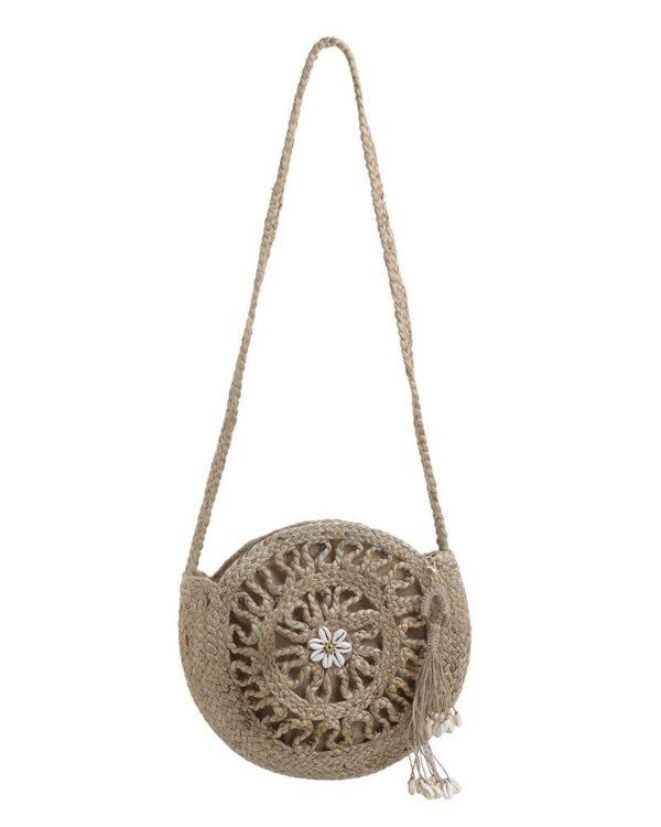 Τσάντα Ψάθινη Στρόγγυλη Natural Crosset 'Amelie' 30x2x30, Inart