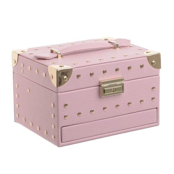 Βαλιτσάκι Καλλυντικών Ροζ Με Χρυσά Τρουκς 18x14x12, Inart