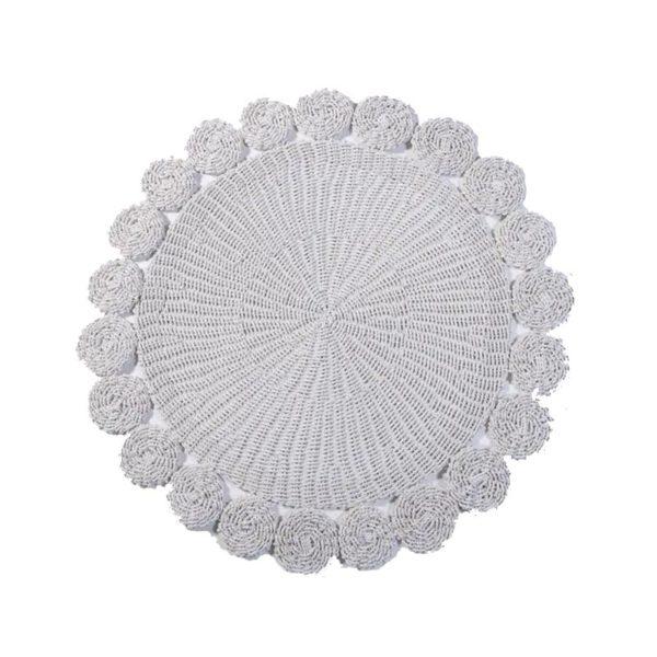 Χαλί Στρόγγυλο Χειροποιήτο Λευκό Σε Σχήμα Λουλούδι Δ150