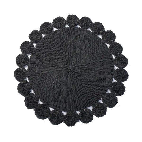 Χαλί Στρόγγυλο Χειροποιήτο Μαύρο Σε Σχήμα Λουλούδι Δ120