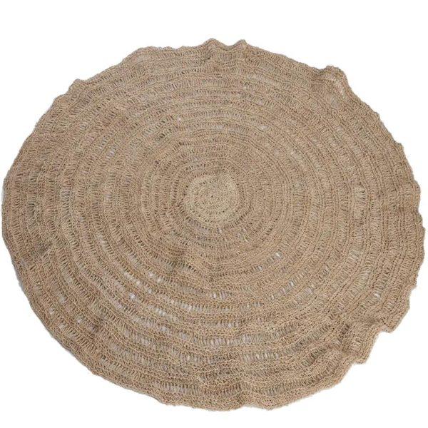 Χαλί Στρόγγυλο Χειροποιήτο Natural Από Δέντρο Teak Δ100