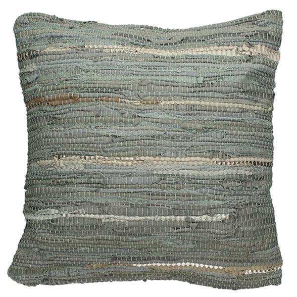 Διακοσμητικό Μαξιλάρι Από Δερμάτινο Κιλίμι Γκρι 45×45 | ZAROS