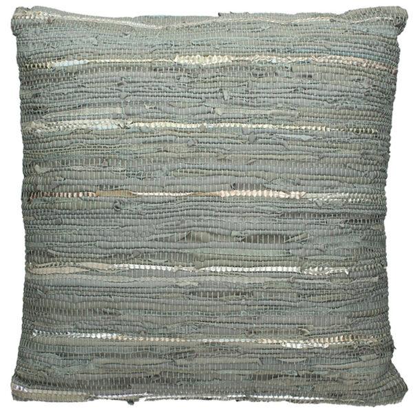Διακοσμητικό Μαξιλάρι Από Δερμάτινο Κιλίμι Γκρι 60×60 | ZAROS