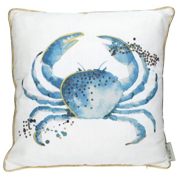 Διακοσμητικό Μαξιλάρι Λευκό Με Χρυσό Ρέλι 'Κάβουρας' 45×45 | ZAROS