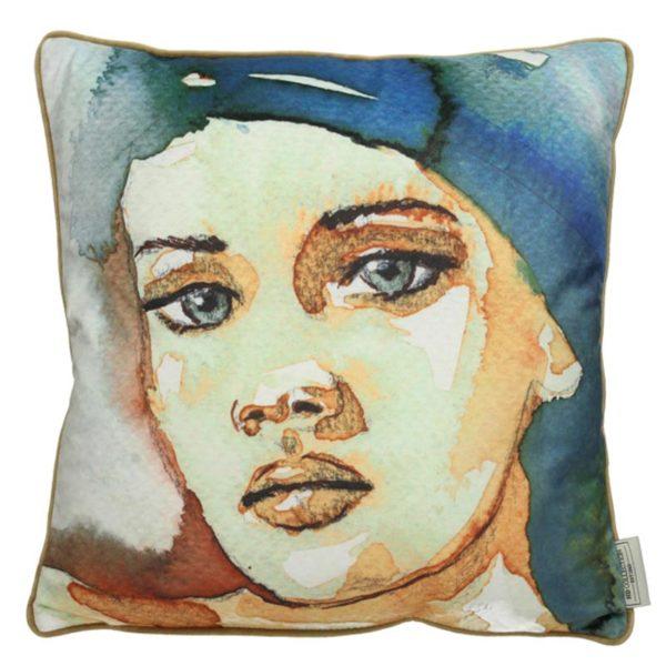 Διακοσμητικό Μαξιλάρι Με Προσωπογραφία Μπλε/ Εκρού 45×45 | ZAROS
