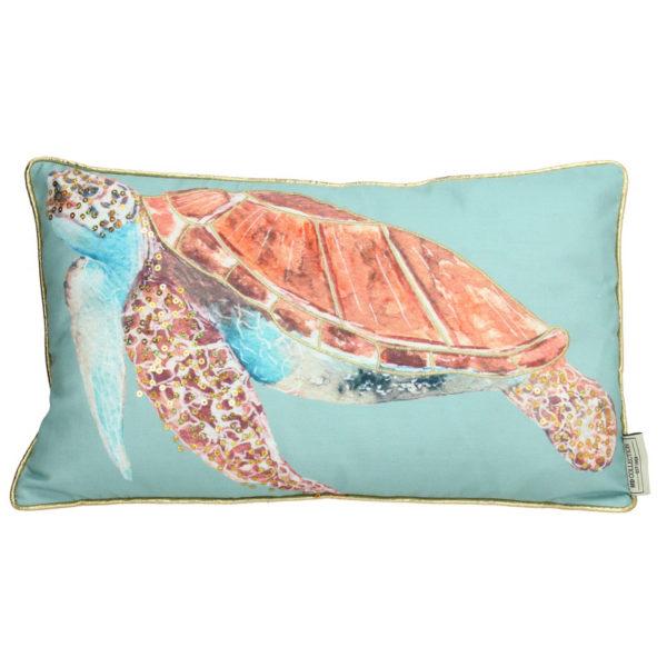 Διακοσμητικό Μαξιλάρι Τυρκουάζ Με Χρυσό Ρέλι 'Θαλάσσια Χελώνα' 30x50 | ZAROS