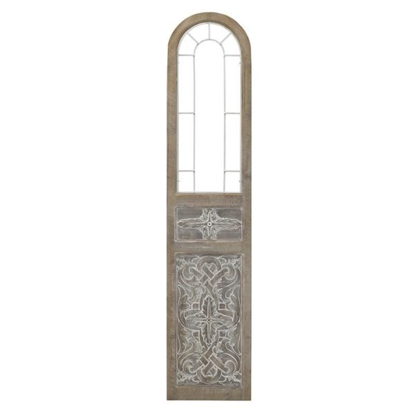 Επιτοίχια Διακοσμητική Ξύλινη Πόρτα Καφέ Με Παλαίωση 32x2x169, Inart