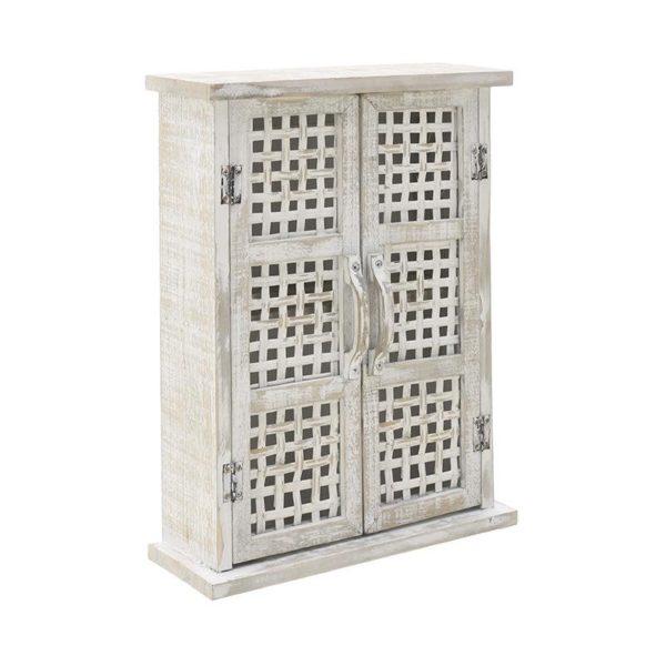 Επιτοίχιο Ντουλάπι Αντικέ Ξύλινο Λευκό Ιβουάρ 35x13x46, Inart