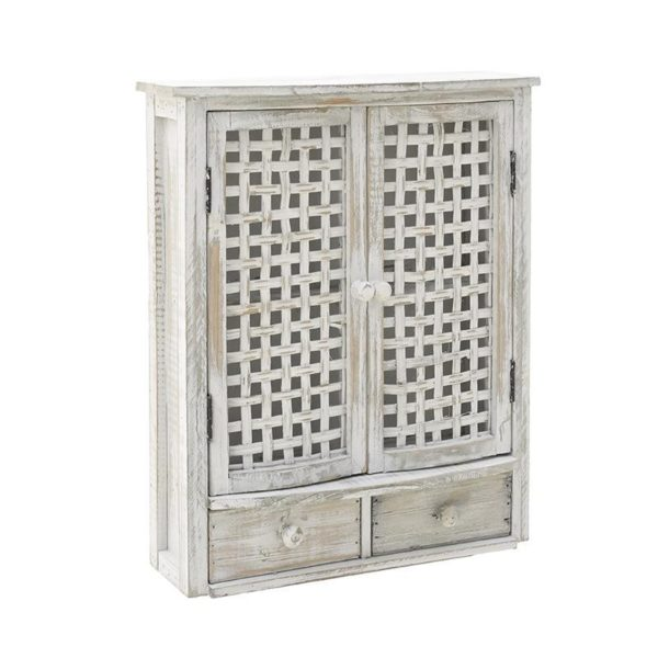Επιτοίχιο Ντουλάπι Αντικέ Ξύλινο Λευκό Ιβουάρ 36x13x43, Inart