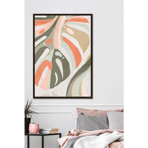 Πίνακας Καμβά Σε Κορνίζα Λαδί/ Πορτοκαλί 'Monstera' 60x90 | ZAROS