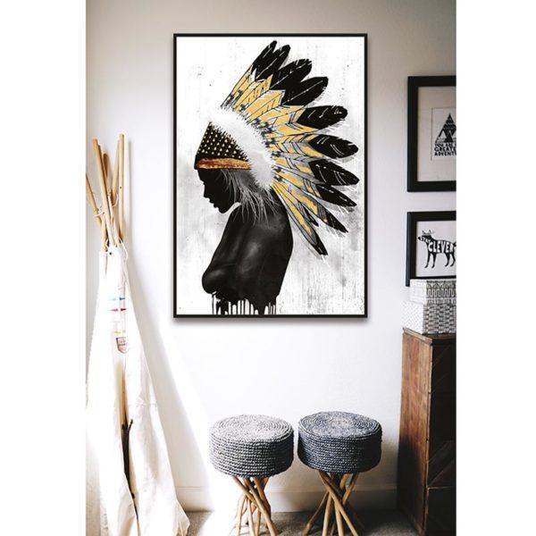 Πίνακας Καμβά Σε Κορνίζα Λευκό/ Μαύρο 'Ινδιάνα' 60x90   ZAROS