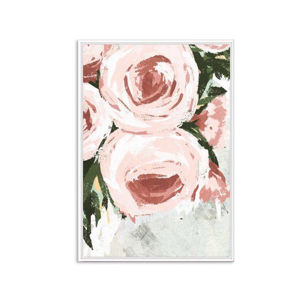 Πίνακας Καμβά Σε Κορνίζα Ροζ/ Λευκό 'Roses' 60x90 | ZAROS