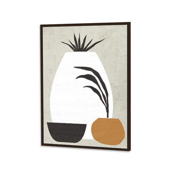 Πίνακας Καμβά Σε Κορνίζα Σε Γήινες Αποχρώσείς 'Βάζα' 60x90 | ZAROS