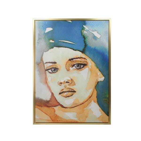 Πίνακας Σε Καμβά Με Χρυσή Κορνίζα Γυναικεία Προσωπογραφία 50x70 | ZAROS