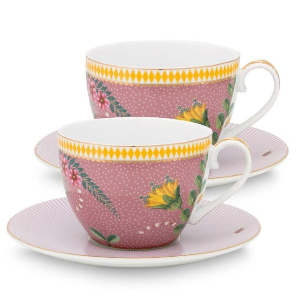 PIP Φλυτζάνια Και Πιατάκια Capuccino 'La Majorelle' Ροζ, Σετ Των 2
