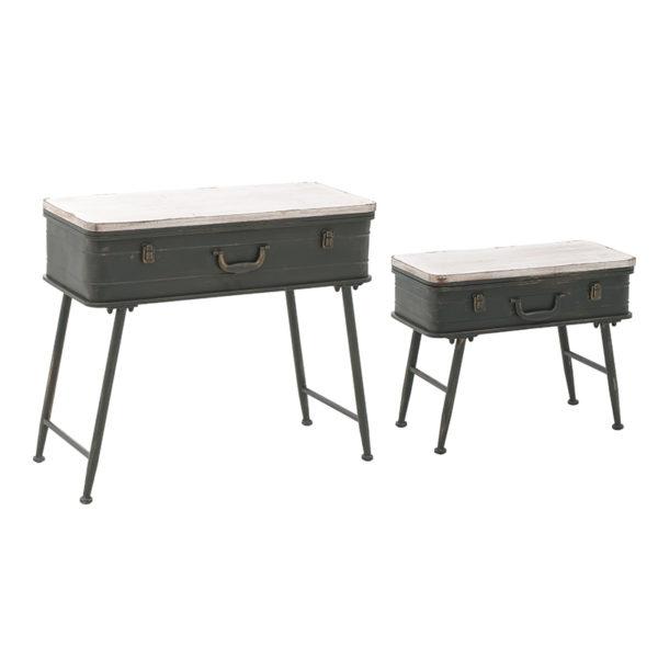 Τραπέζια Βοηθητικά Ξύλο/ Μέταλλο Με Αποθηκευτικό Χώρο 'Βαλίτσα' 80x36x71, Σετ Των 2