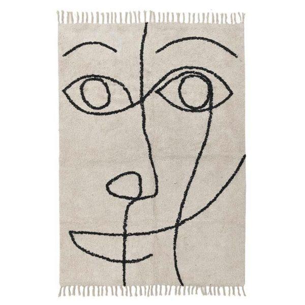 Χαλί Υφασμάτινο Εκρού/ Μαύρο 'Picaso' 120x180, Inart