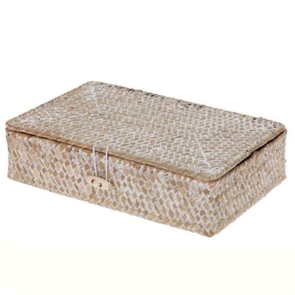 Διακοσμητικό Κουτί Αποθήκευσης Για Τσάι Από Φυσικό Υλικό Seagrass 23x15x6 | ZAROS