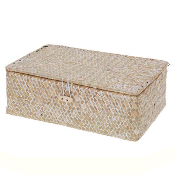 Διακοσμητικό Κουτί Αποθήκευσης Για Τσάι Από Φυσικό Υλικό Seagrass 23x15x9 | ZAROS