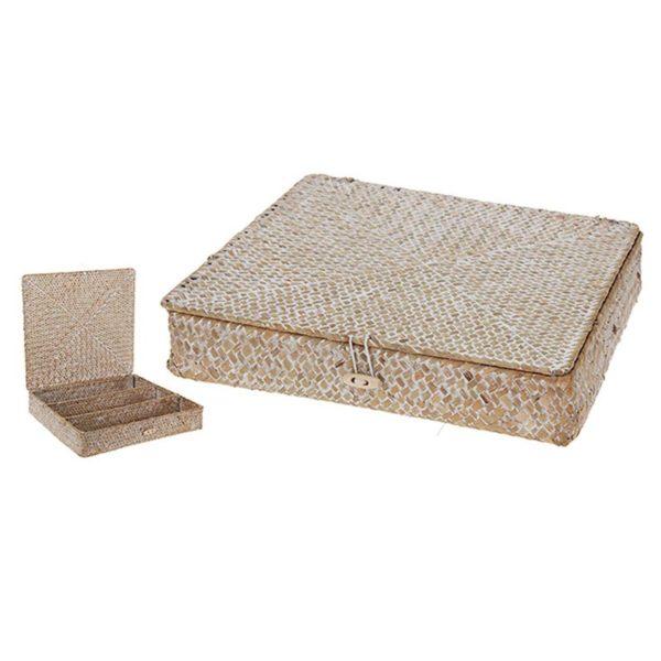 Διακοσμητικό Κουτί Κοσμηματοθήκη Από Φυσικό Υλικό Seagrass 28x28 | ZAROS