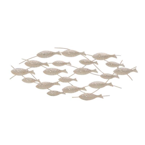 Διακοσμητικό Τοίχου Μεταλλικό Αντικέ Λευκό/ Εκρού Ψάρια 84.5x26
