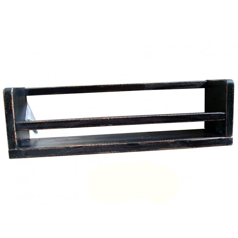 Επιτοίχιο Ράφι Αποθήκευσης Ξύλινο Για Βάζα Sifnos Classic Black 50x11.5x14