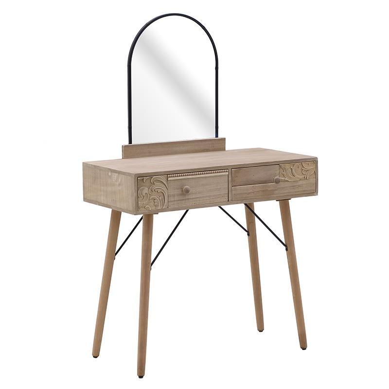 Κονσόλα/ Μπουντουάρ Ξύλινο Natural Beige Με Ανάγλυφα Σχεδια Μ80 Υ125, Inart