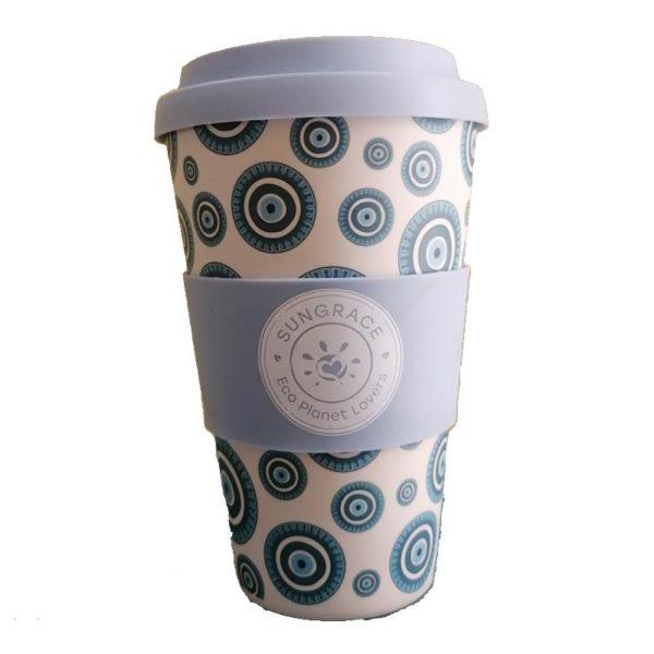 Κούπα Bamboo Γαλάζιο/ Λευκό 'Eye' 400ml
