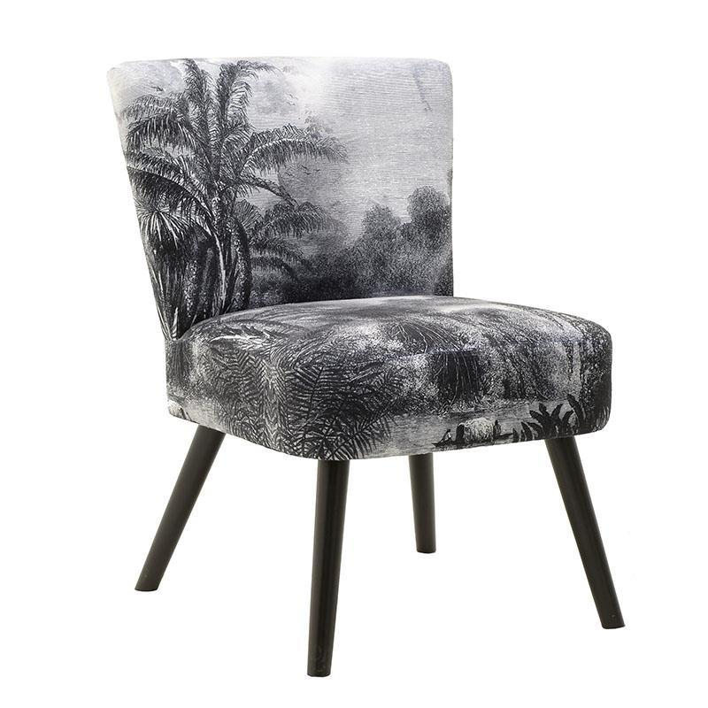 Πολυθρόνα Υφασμάτινη Γκρι/ Μαύρη 'Tropical', Inart