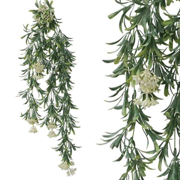 Τεχνητή Κρεμαστή Ρίζα Φυλλαράκι Πράσινο/ Λευκό Υ77