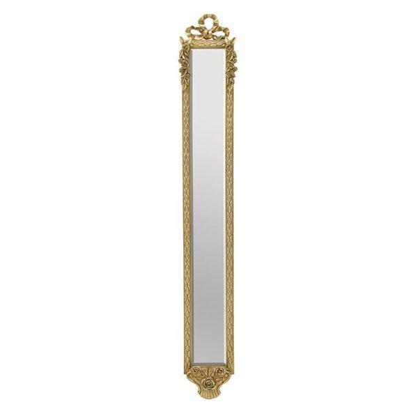 Επιτοίχιος Καθρέπτης Μακρόστενος Ξύλινος Χρυσός Με Σκαλιστά Σχέδια 21x131, Inart