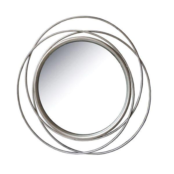 Επιτοίχιος Καθρέπτης Στρόγγυλος Μεταλλικός Σαμπανί 'Lines' Δ80 | ZAROS